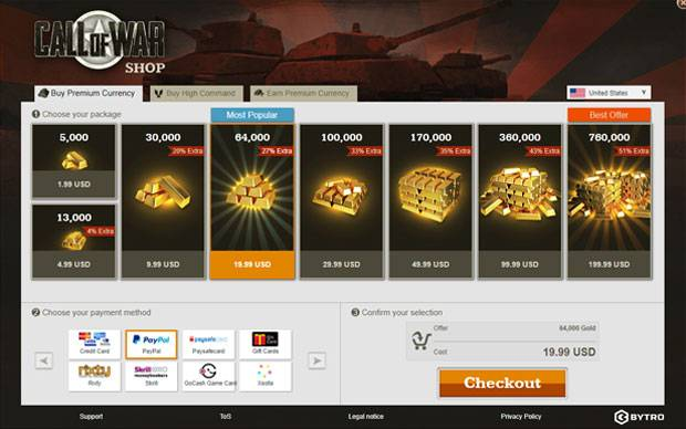Call of War neuer Shop Bonus